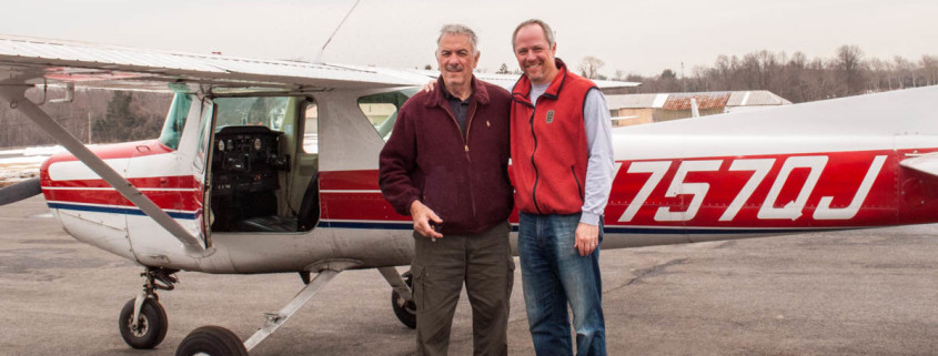 CFI Dick Schuster and Craig Kaisand after his first solo flight