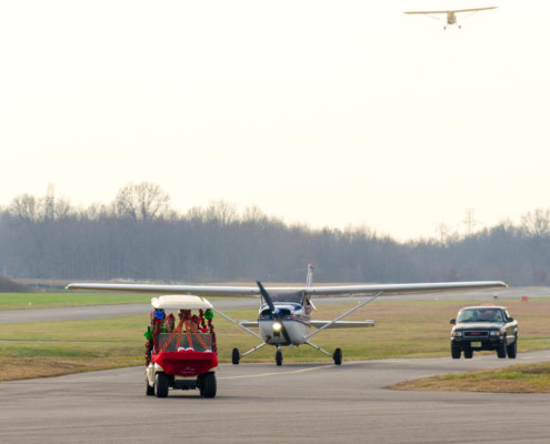 Santa Arriving at Central Jersey Regional Airport for the 2015 Santa Fly-In